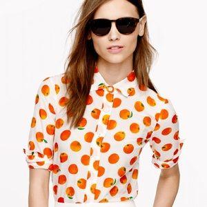 J. Crew Perfect Shirt Citrus Orange 🍊Print XXS